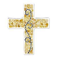 Glass mosaic cross, 'Spiritual Growth' - Upcycled Glass Mosaic Mexican Wall Cross with Scroll Design