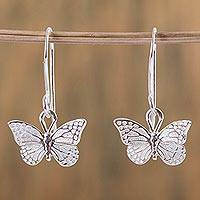 Sterling silver dangle earrings, 'Monarch Butterfly' - Fair Trade Taxco Silver Butterfly Dangle Earrings