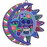 Signed Ceramic Day of the Dead Moon and Sun Eclipse Wall Art, 'Death and Life'
