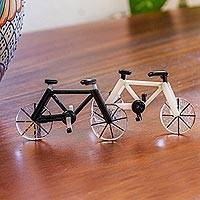 Art glass miniatures, 'Vintage Bicycles' (pair) - Set of Two 3-inch Art Glass Bicycle Miniatures from Mexico
