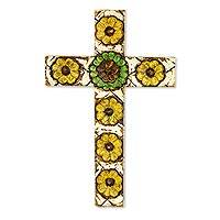 Wood cross, 'San Miguel Sunflowers' - Hacienda Style Wall Cross with Sunflowers Christian Art