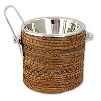 Pine needle and stainless steel ice bucket, 'Pine Elegance' - Mexican Pine Needle and Stainless Steel Ice Bucket