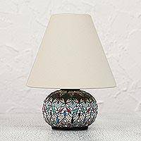 Ceramic table lamp, 'Springtime in Guanajuato' - Handcrafted Mexican Floral Ceramic Table Lamp and Shade