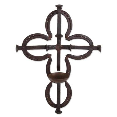 Metal Art Upcycled Railroad Spikes and Horseshoe Wall Cross