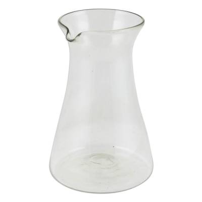Artisan Crafted Mexican Hand Blown Glass Clear Carafe