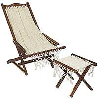 Wood and cotton chair and foot rest, 'Ivory Weave' - Artisan Crafted Wood and Cotton Chair and Foot Rest Set
