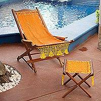 Maya hammock deck chair and footstool, 'Cancun Sun' - Folding Deck Chair and Footstool with Maya Hammock Fabric