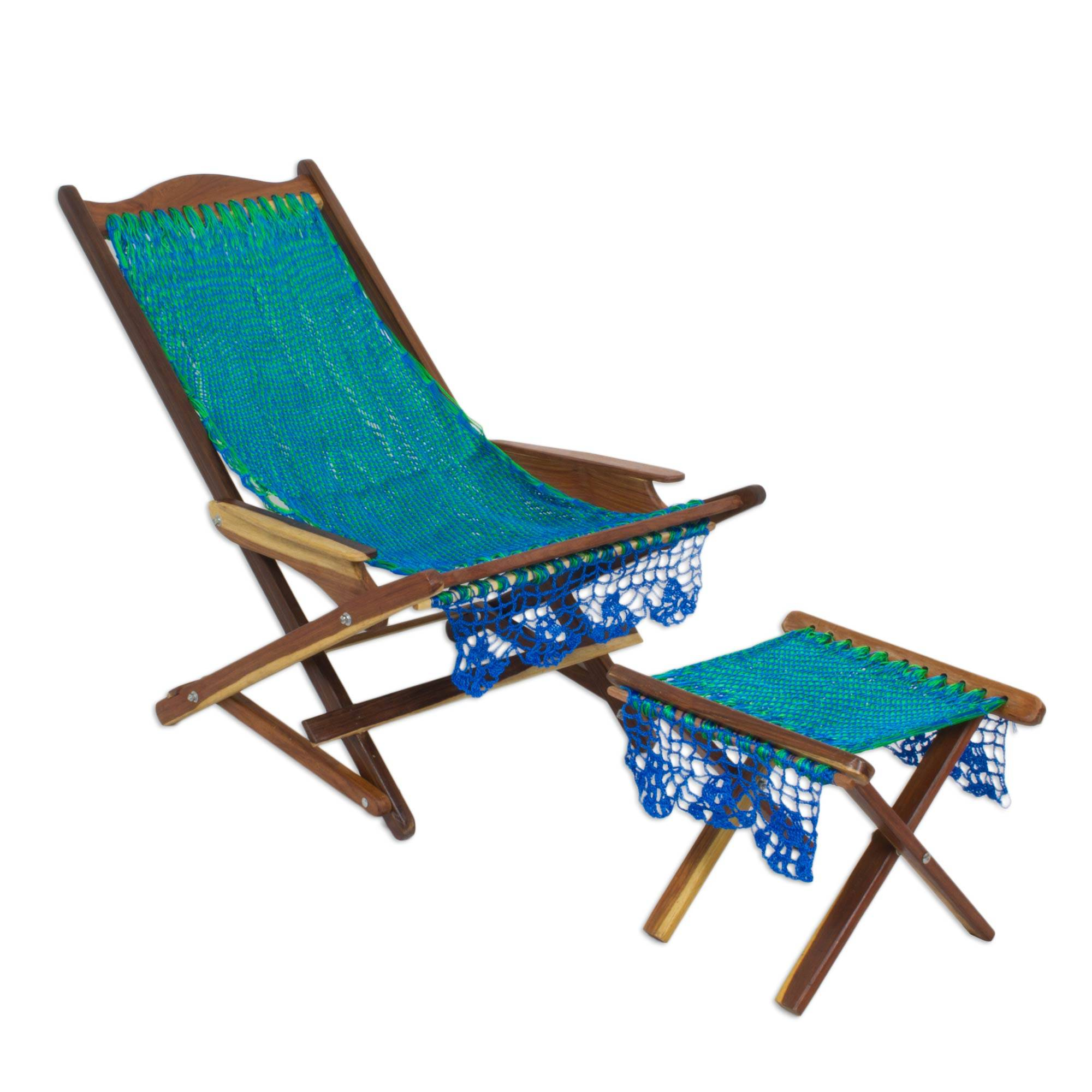 Maya hammock deck chair and footstool, 'Cancun Coast' - Sit back and relax!  This Deck Chair and Footstool, is available in many other colors!