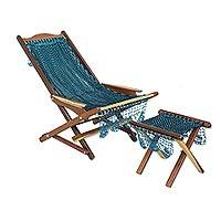 Maya hammock deck chair and footstool, 'Caribbean Currents' - Folding Deck Chair and Footstool with Maya Hammock Fabric