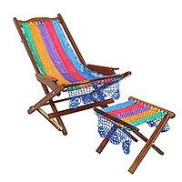 Maya hammock deck chair and footstool, 'Fiesta in Cancun' - Colorful Maya Hammock Fabric Deck Chair and Footstool
