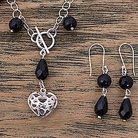 Agate jewelry set, 'Agape Love' - Black Agate Handcrafted Sterling Silver Heart Jewelry Set