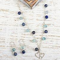 Aquamarine and lapis lazuli jewelry set,