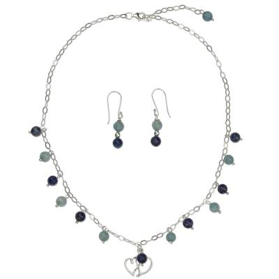 Aquamarine and lapis lazuli jewelry set, 'Love Planets' - Mexican Silver Jewelry Set with Aquamarine and Lapis Lazuli