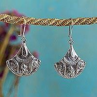 Sterling silver dangle earrings, 'Colonial Fan' - Colonial Inspired Mexican Sterling Silver Dangle Earrings