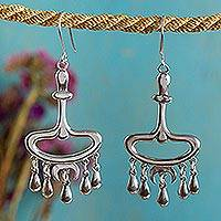 Sterling silver chandelier earrings, 'Morelia Rain Shower' - Antique Style Mexican Silver Chandelier Earrings
