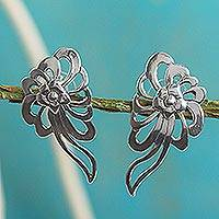 Sterling silver drop earrings, 'Colonial Nosegay' - Sterling Silver Floral Drop Earrings Handcrafted in Mexico