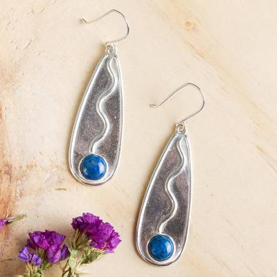 Lapis lazuli dangle earrings, 'River Flow' - Sterling Silver Handcrafted Earrings with Lapis Lazuli