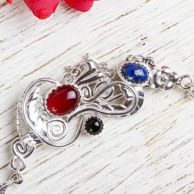 Multigem pendant necklace, 'Ephemeral' - Silver 925 Carnelian Floral Necklace with Lapis and Onyx