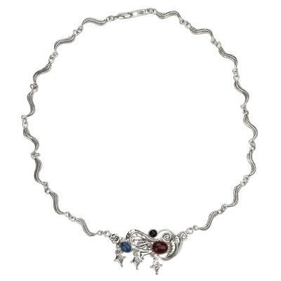 Silver 925 Carnelian Floral Necklace with Lapis and Onyx