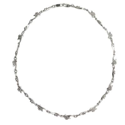 Artisan Crafted Sterling Silver Floral Chain Necklace