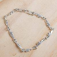 Sterling silver link bracelet, 'Petite Garland' - Sterling Silver Artisan Crafted Link Bracelet from Mexico