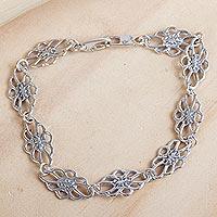 Sterling silver link bracelet, 'Infinite Dahlia' - Sterling Silver Flower Silhouette Link Bracelet from Mexico