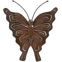 Iron wall sculpture, 'Brown Aztec Butterfly' - Artisan Crafted Butterfly Wall Sculpture from Mexico