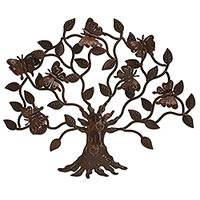 Iron wall sculpture, 'Butterfly Tree' - Artisan Crafted Iron Wall Decor with Butterfly Motif