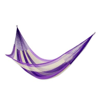 Artisan Crafted Purple Nylon Triple Mayan Hammock