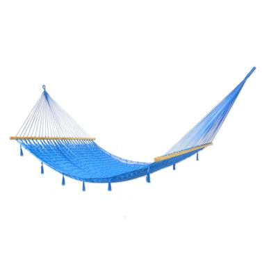 Fair Trade Sky Blue Hammock with Fringe and Spreader Bars from Novica