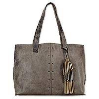Leather shoulder bag, 'Capacious in Ash Brown' - Large Leather Shoulder Tote Bag from Mexico