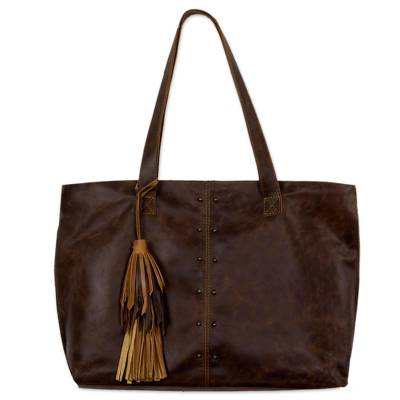 Leather shoulder bag, 'Capacious in Dark Brown' - Oversize Dark Brown Leather Shoulder Tote Bag from Mexico