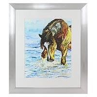 'Horse in the Sea' - Framed Watercolor Painting of a Horse in the Sea from Mexico