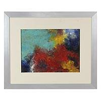 'Deep' - Original Abstract Encaustic Painting in Frame from Mexico