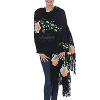 Cotton applique shawl,