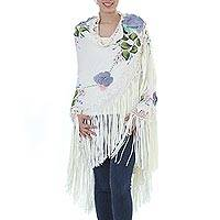 Long cotton applique shawl, 'Mexican Morning Glory' - Artisan Crafted Long Beige Floral Applique Shawl