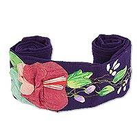 Cotton applique sash, 'Petals on Purple' - Hand Painted Floral Cotton Tie Belt in Purple