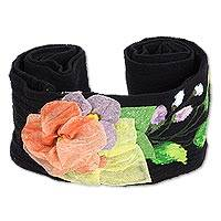 Cotton applique sash, 'Petals on Black' - Floral Hand Painted Black Cotton Tie Belt