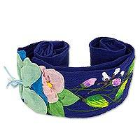 Cotton applique sash, 'Petals on Royal Blue' - Artisan Crafted 100% Cotton Floral Belt