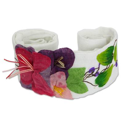 Hand Painted White Cotton Belt with Flower Applique