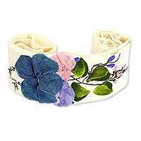 Cotton applique sash, 'Petals on Cream' - Floral Applique Hand Painted Creamy Cotton Tie Belt
