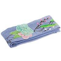 Cotton applique sash, 'Petals on Wedgwood Blue' - Hand Painted Floral Cotton Sash in Wedgwood Blue