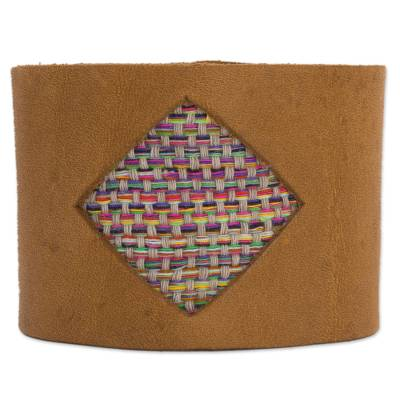 Leather and cotton band bracelet, 'Vibrant Diamond' - Leather and Woven Cotton Band Bracelet from Mexico