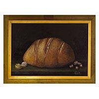 'Our Daily Bread' - Realistic Signed Framed Tempera Painting from Mexico