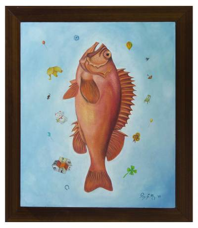 'The Collector of Objects' - Surreal Framed Tempera Painting of a Fish