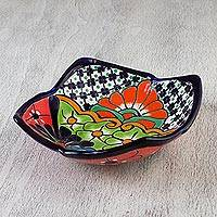 Ceramic serving dish, 'Garden in Yuriria' - Colorful Talavera-Style 10-Inch Floral Serving Dish