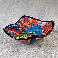 Ceramic serving dish, 'Garden in Comonfort' - Artisan Crafted Floral Talavera-Style 10-Inch Serving Dish
