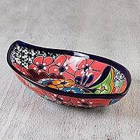 Ceramic serving dish, 'Summer in Comonfort' - Handcrafted Elongated Floral Talavera-Style Serving Dish