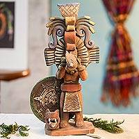 Ceramic sculpture, 'Priest of the Aztecs' - Aztec Archaeology Signed Artisan Crafted Ceramic Sculpture