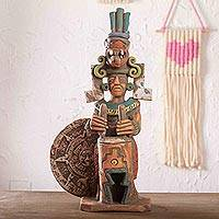 Ceramic sculpture, 'Aztec Drummer' - Mexico Archaeology Ceramic Aztec Drummer Sculpture